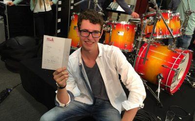 2016 Mart Kerkhofs met lof geslaagd voor D-examen Drums